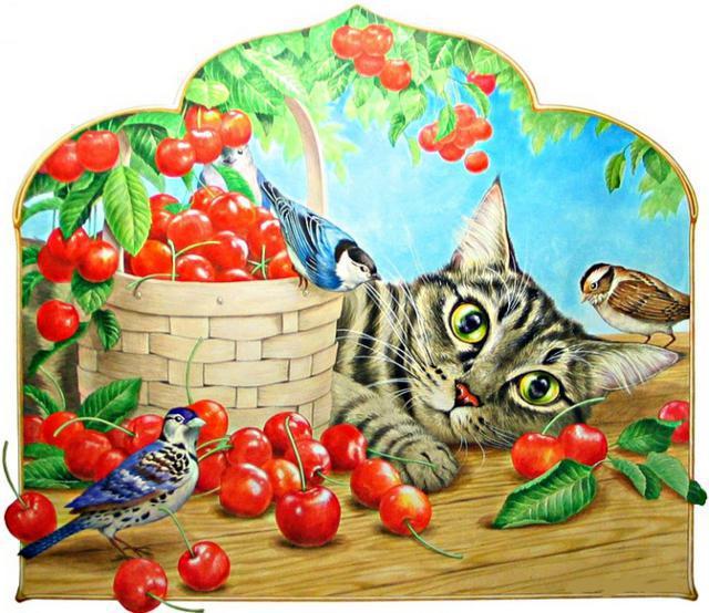 Черешня, кот, воробьи и синицы