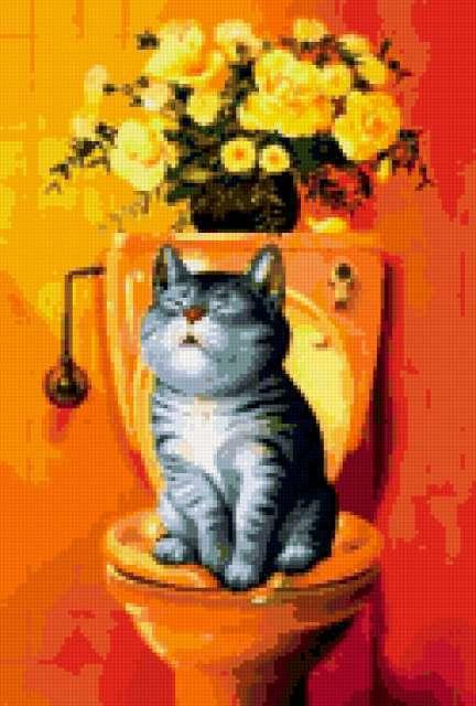 Кот на унитазе, предпросмотр