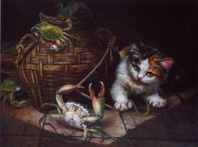 Котенок и крабы, оригинал