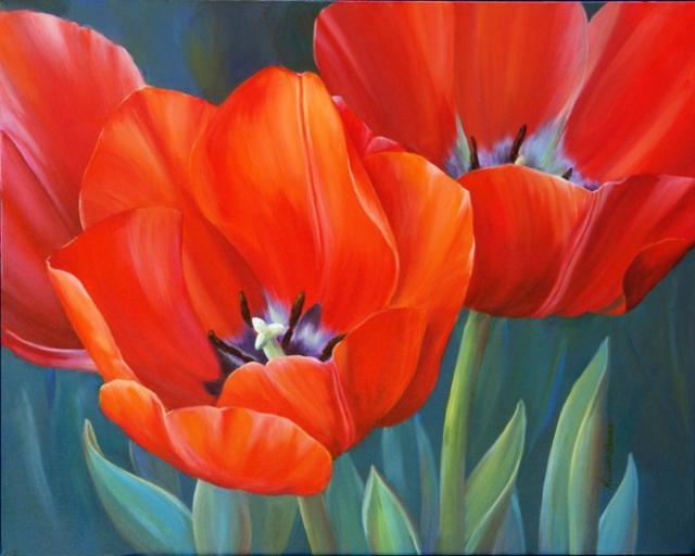 Тюльпаны, нежные акварели