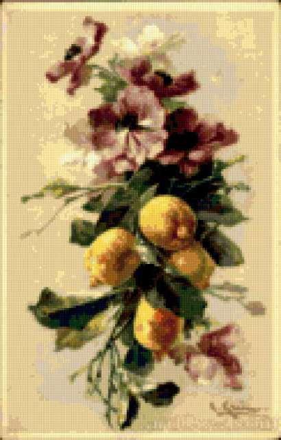 Лимоны и анемоны, живопись,