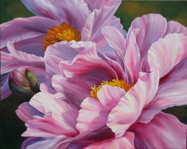 Розовые пионы, цветочное