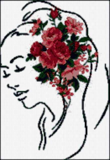 Цветы в волосах, девушка,
