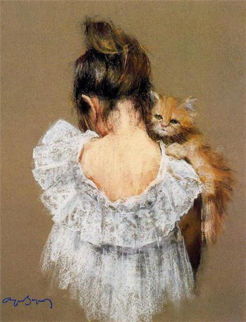 Незнакомка с котёнком, картина