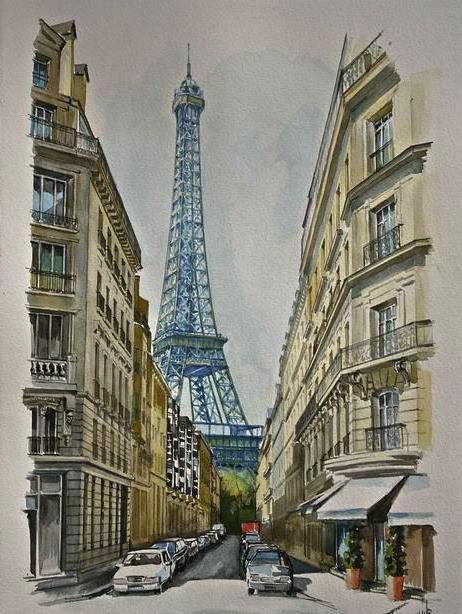Эйфелева башня.Париж, акварель