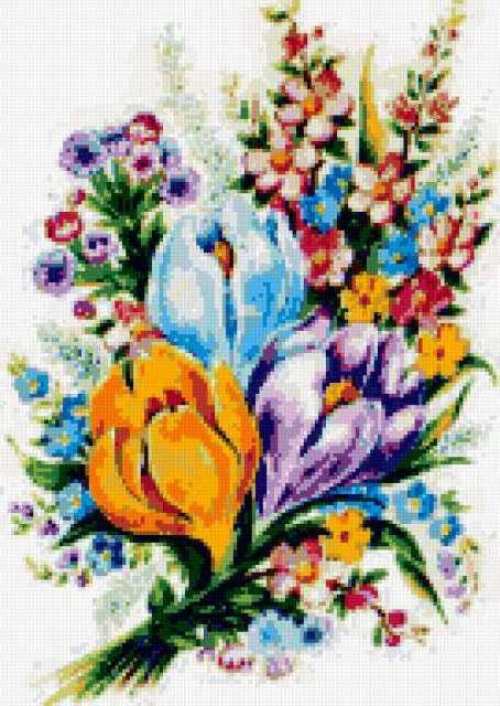 Схема вышивки «Букет весенних
