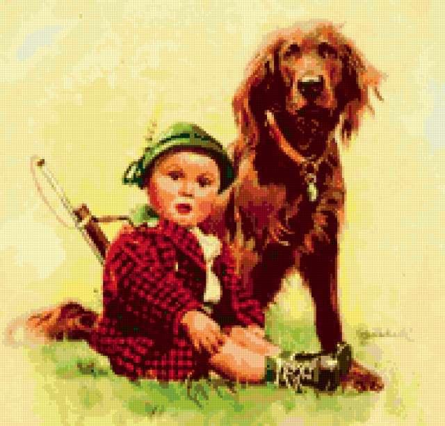 дети, мальчик, собака,