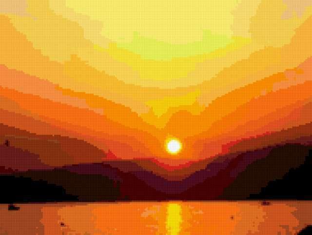Заход солнца, море, горы,