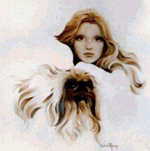 Портрет девушки и пекинеса,