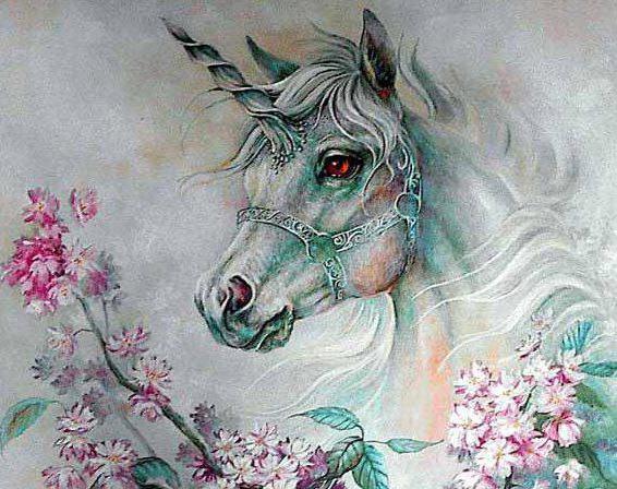 Единорог в цветах, животные,