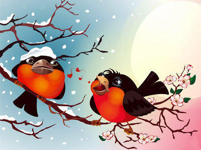 Смешные снегири, птицы