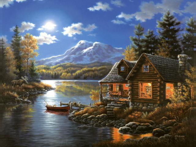 Домик в лесу, домик, пейзаж,