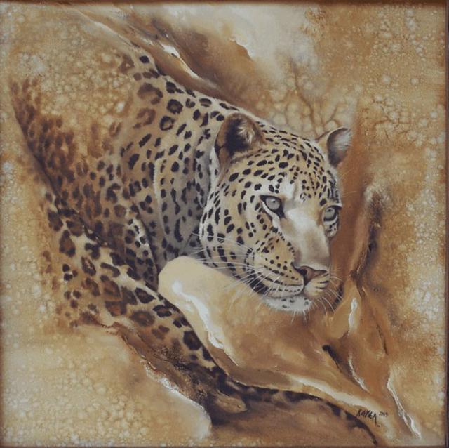 Ягуар, живопись, животные