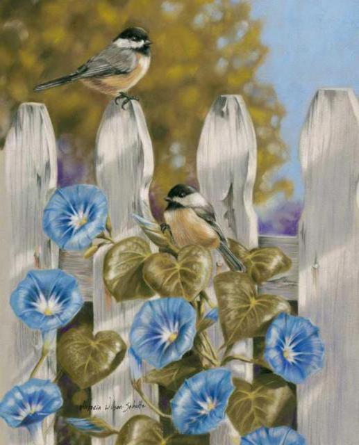 Схема для вышивки голубые цветы