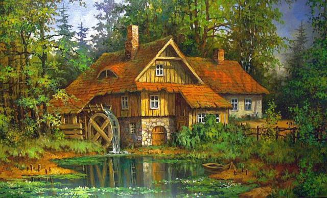 Дом в лесу, мельница, домик,