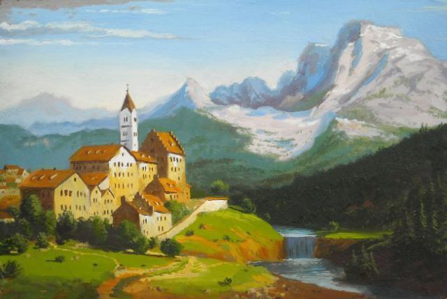 Альпийский пейзаж, оригинал