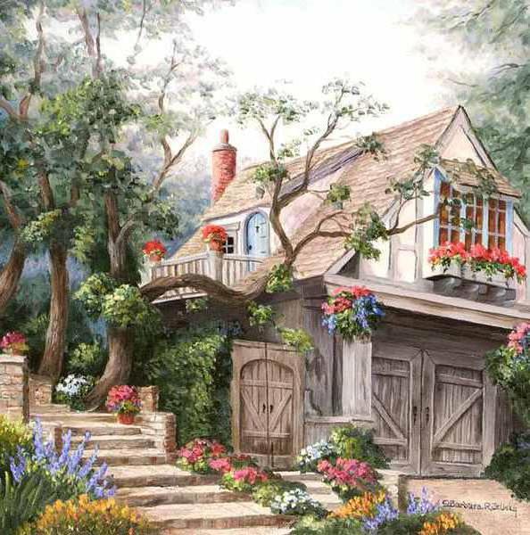 Дом в саду, живопись, пейзаж