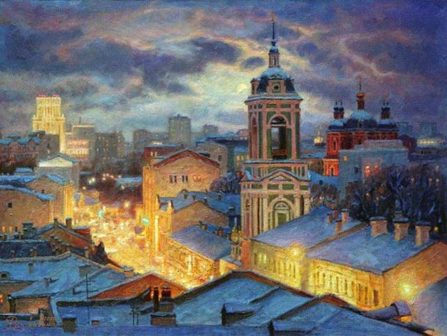 Ночной город, архитектура