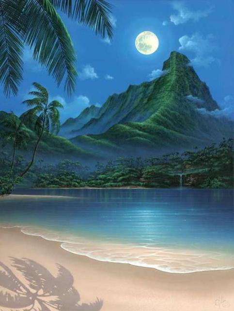 Ночной пляж, пейзаж, остров,