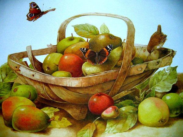 Яблоки и груши, живопись,