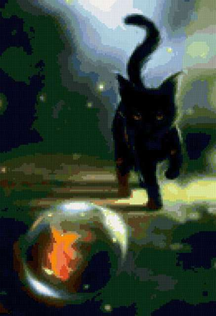 Чёрный кот и золотая рыбка,
