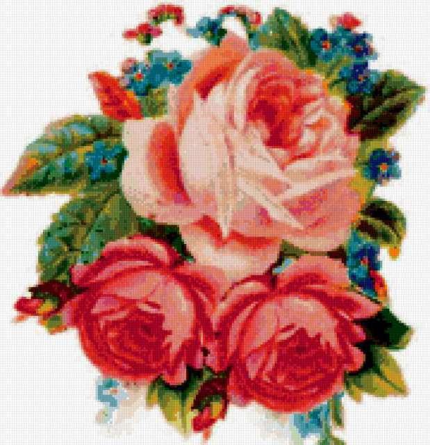 Подушка розовые розы