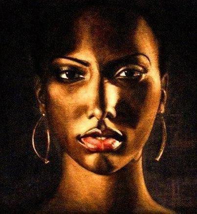 Портрет африканки на чёрном,