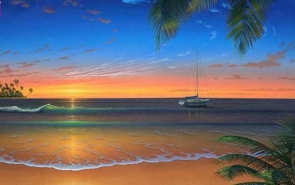 Песчаный пляж, пейзаж, море,