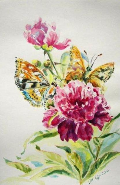 Пион и бабочки, живопись,