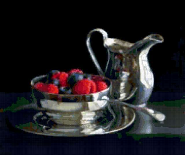 , still life, silver jug, raspberries