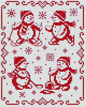 Снеговики, зимняя картина