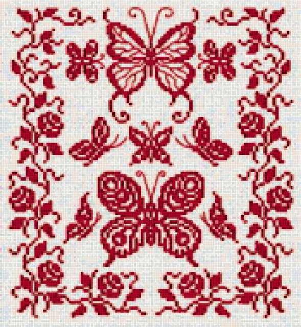 Схемы вышивки бабочек монохром