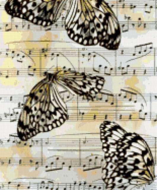 Ноты и бабочки, предпросмотр