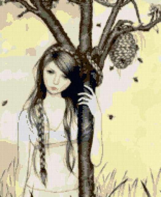 Пчелиный рой, девушка, дерево,