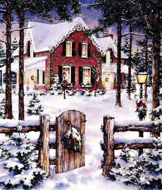 зима, забор, здание