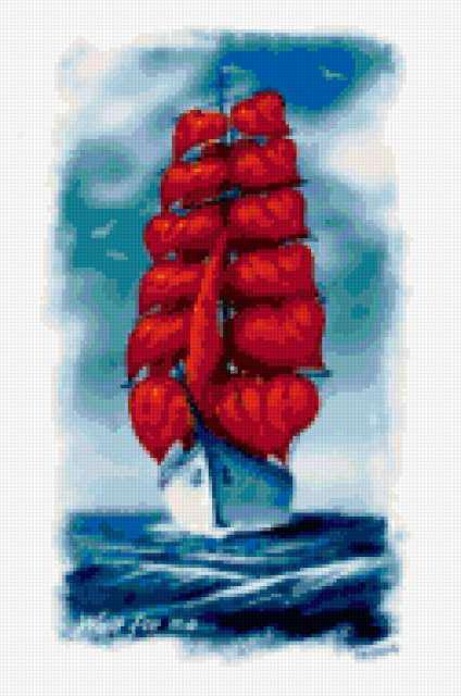Алые паруса, море, парусник,