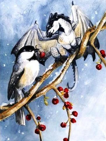 Дракончик и снегирь, фентези,