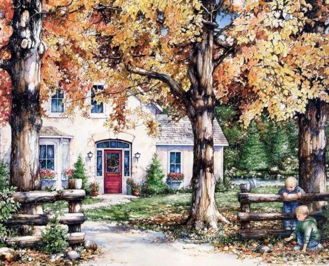 осень, здание, домик,