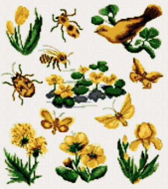 Цветы, птицы и бабочки, цветы