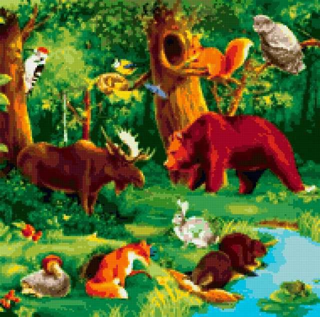 животные, природа, рисунок