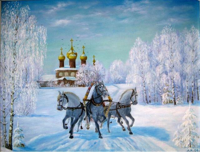 Русская тройка, живопись