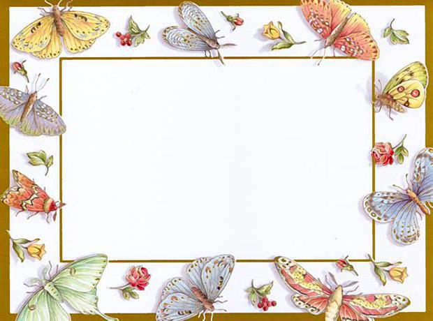 Бордюр, рамка, бабочки