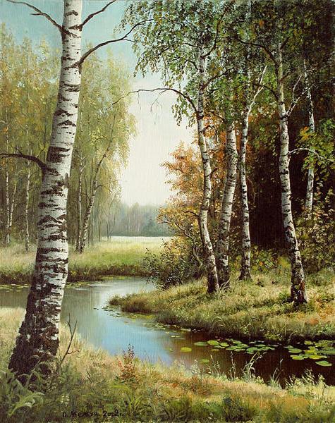 Березы у реки, живопись,
