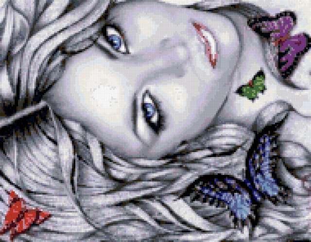 Портрет девушки с бабочками,