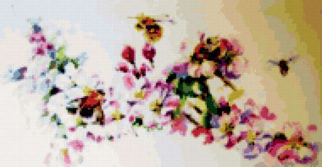 Цветы и пчелы, живопись