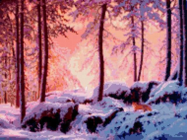 Зимнее утро, зима, утро, иней,