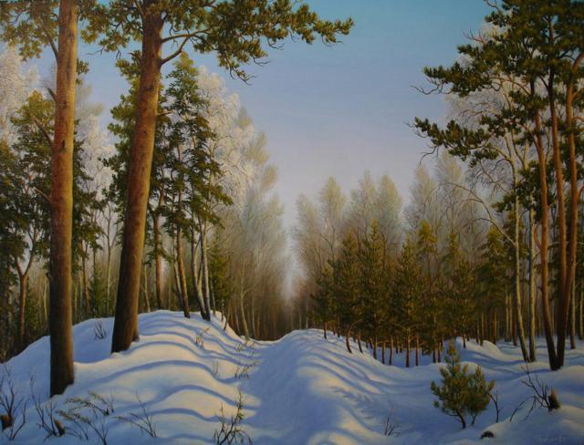 Зимнее утро, зимний пейзаж,