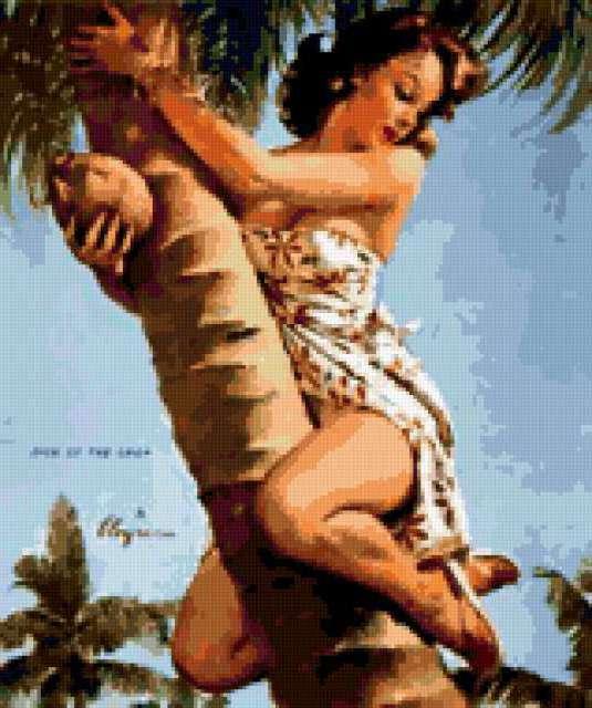 На кокосовой пальме, девушка,