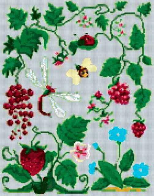 Схема вышивки ягоды и цветы