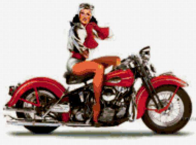 Ретро девушка на мотоцикле,
